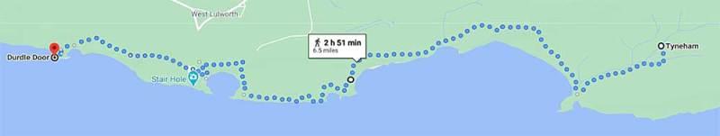 Tyneham to Durdle Door Map