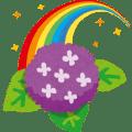 虹とあじさいのイラスト