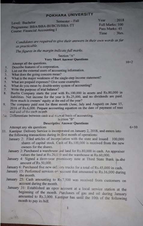 Financial accounting model question paper 2018