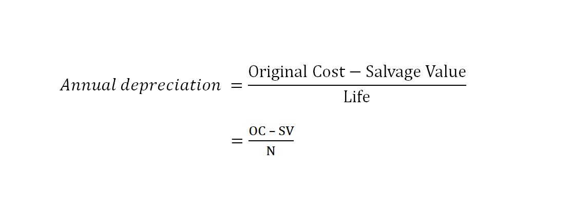 straight line depreciation formula