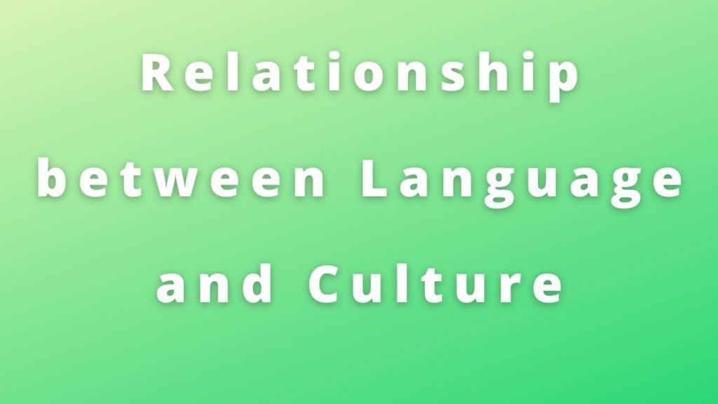 Relationship between Language and Culture