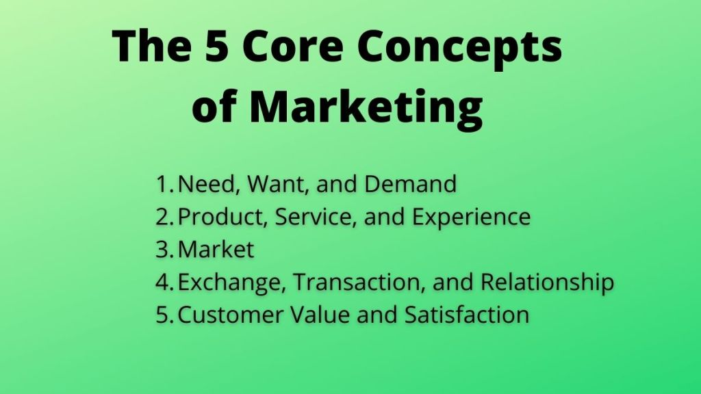 5 core concepts of marketing