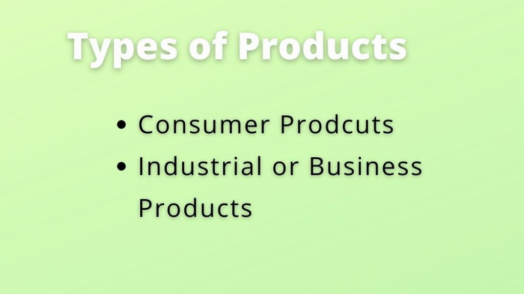 types of products