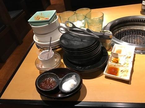 お席で注文食べ放題焼肉きんぐ食後の食器