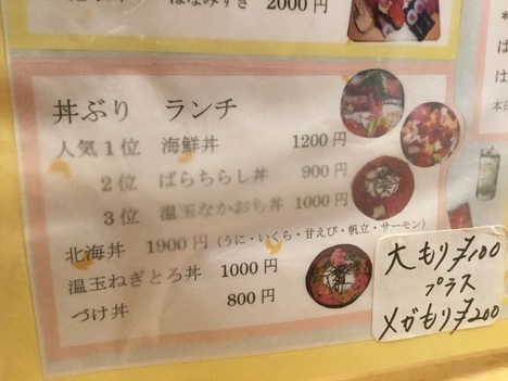 東大宮玄海寿司ばらちらし丼ランチメニュー