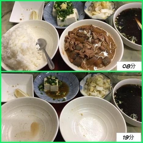 足利たぬきデカ盛り特注もつ煮定食経過