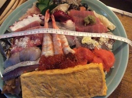 太田寿司広デカ盛り海鮮丼計測