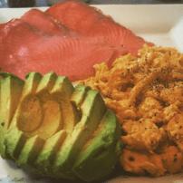 Smoked salmon, avocado and scrambled eggs