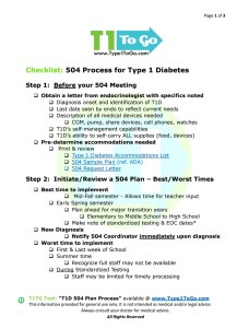 504 Plan Process for Type 1 Diabetics