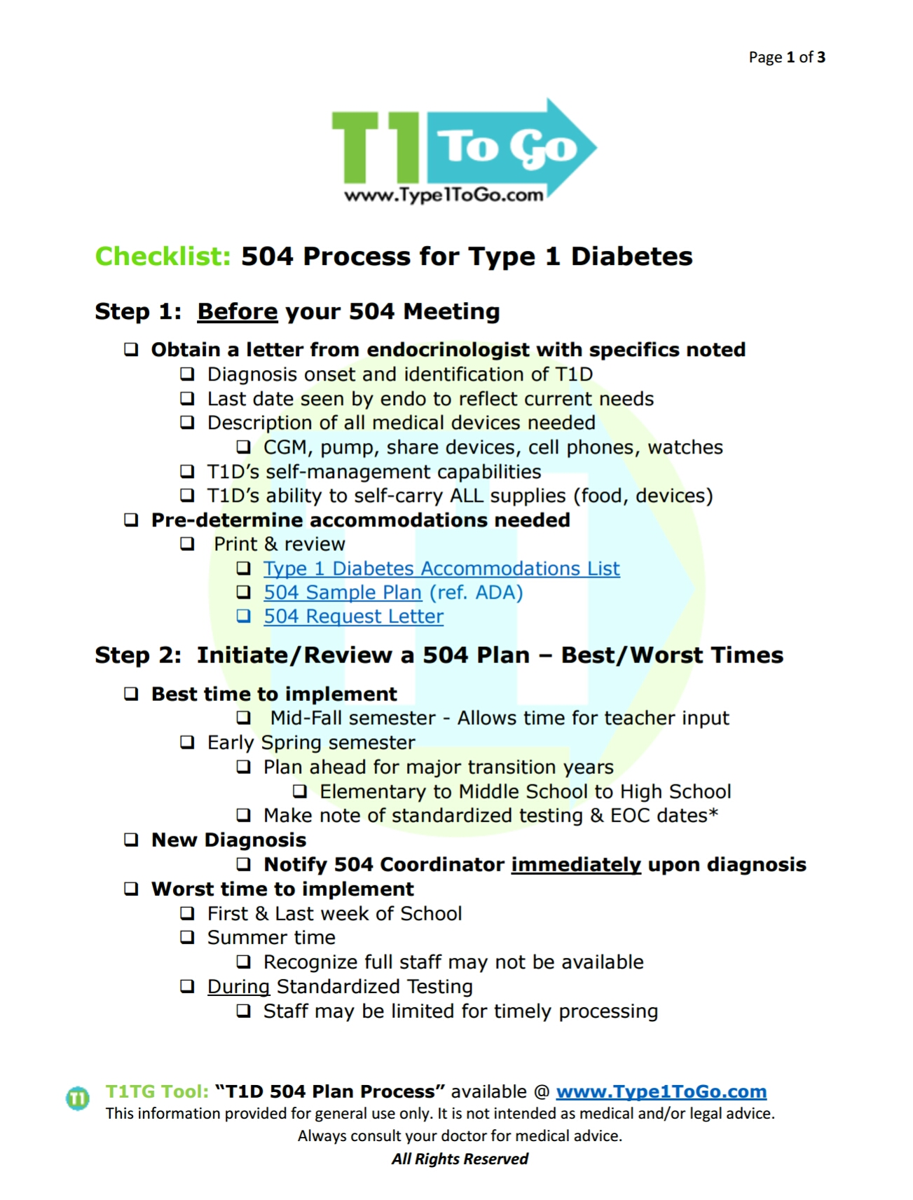 T1D 504 Process Pg 1 - Type 1 To Go