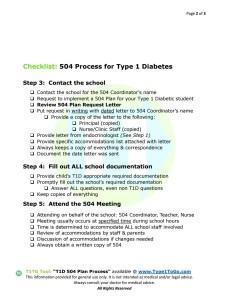 504 Plan Process for Type 1 Diabetics