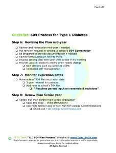 504 Plan Process for Type 1Diabetics