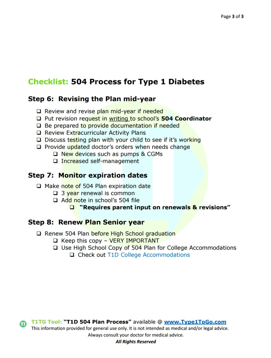 Type 1 Diabetic 504 Plan Process