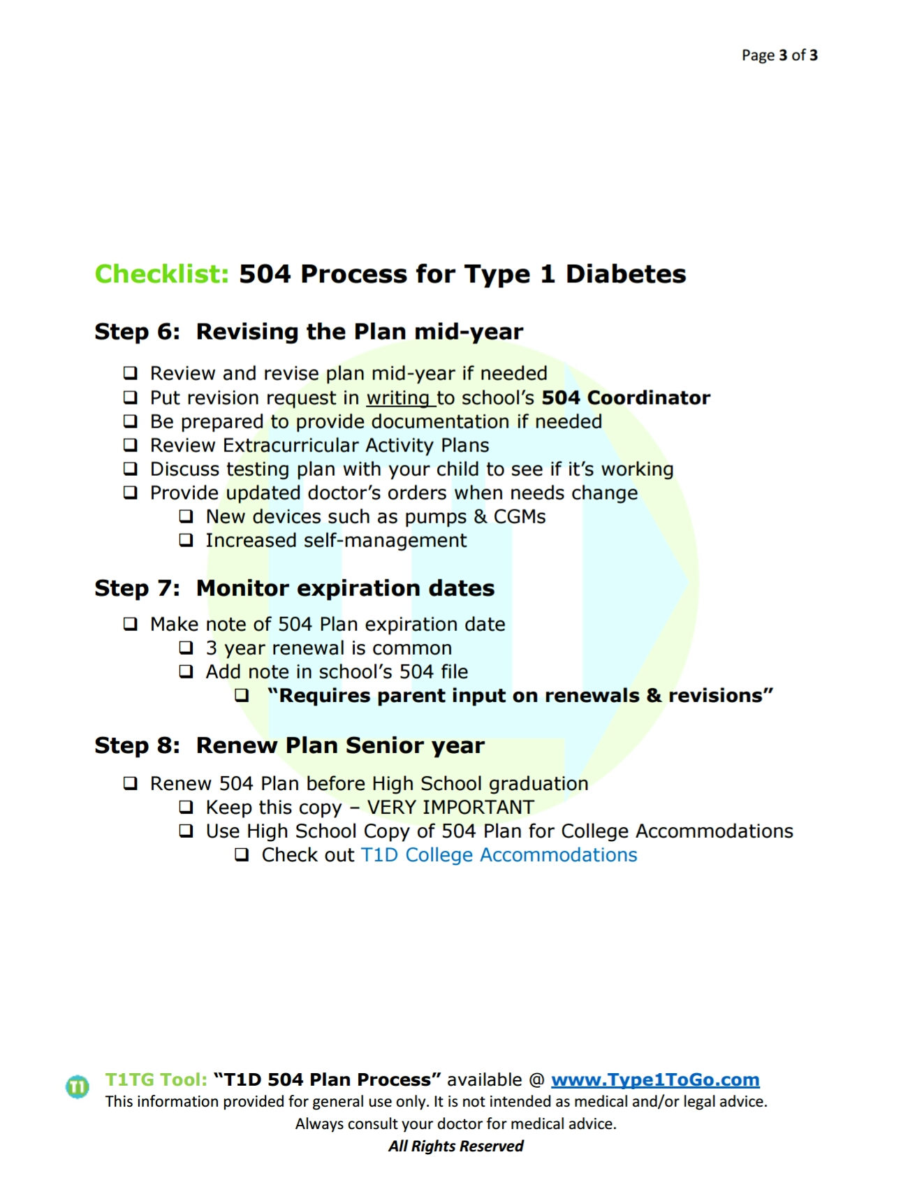 504 Plans For Type 1 Diabetics