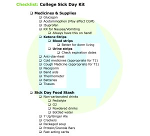 College sick day list by Type 1 To Go.