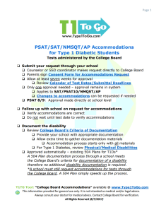SAT accommodations for Type 1 Diabetes