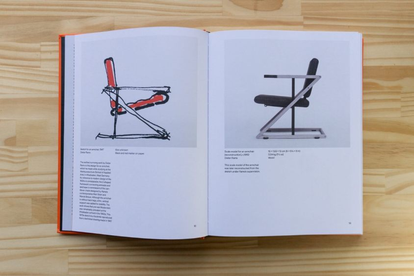 Sketch for an armchair (1947) and a scale model for an armchair (1952)