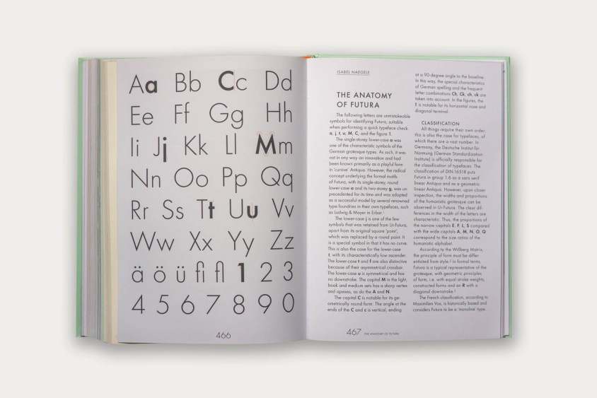 One of many spreads analyzing the details of Futura.