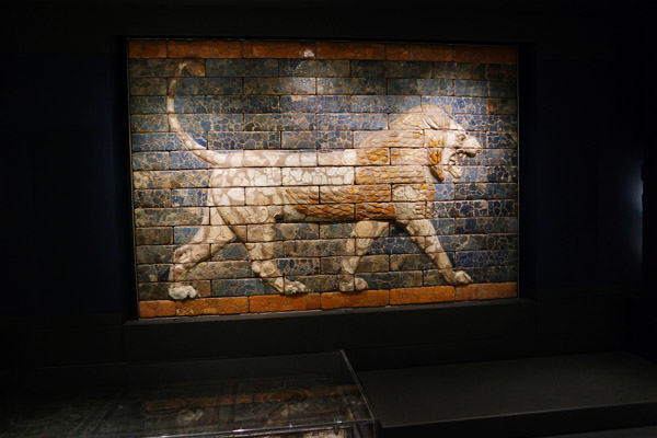 Panel with striding lion