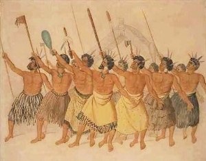 •	Maori War Dance, New Zealand, circa 1850Courtesy: Joseph Jenner Merrett.