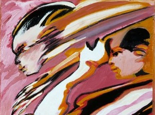 "Remo Brindisi, Detail from ""Tre profili"" (""Three Profiles""), circa 1975-1980. Courtesy:  Artgate Fondazione Cariplo."