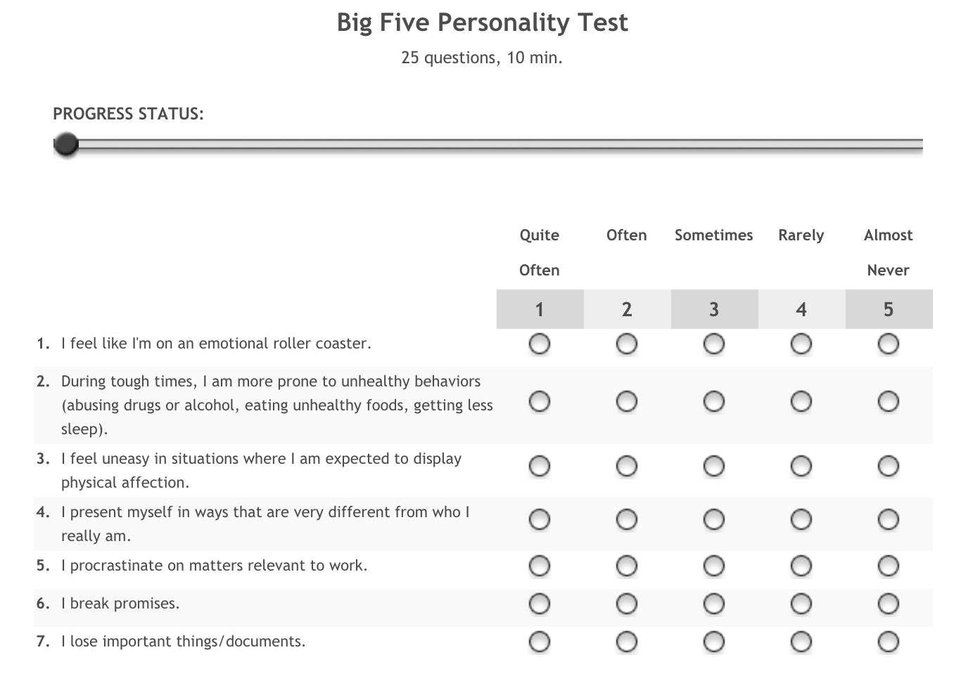 4 Letter Personality Test