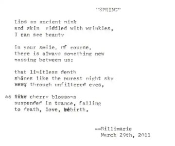 """""""Spring"""" by Billimarie Lubiano Robinson - typewriter poetry - 2011"""