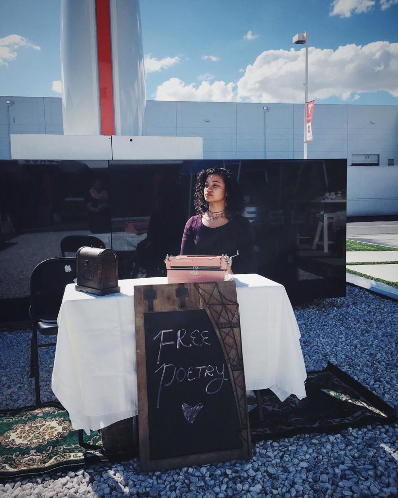 """Free Poetry"" at SpaceX & Tesla for Valentine's Day - Typewriter Poetry - Billimarie Lubiano Robinson, 2018"