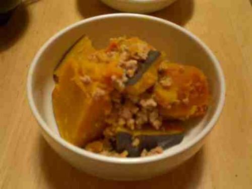 かぼちゃとひき肉の煮物
