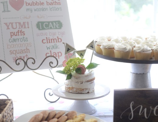 floral first birthday party decor and food