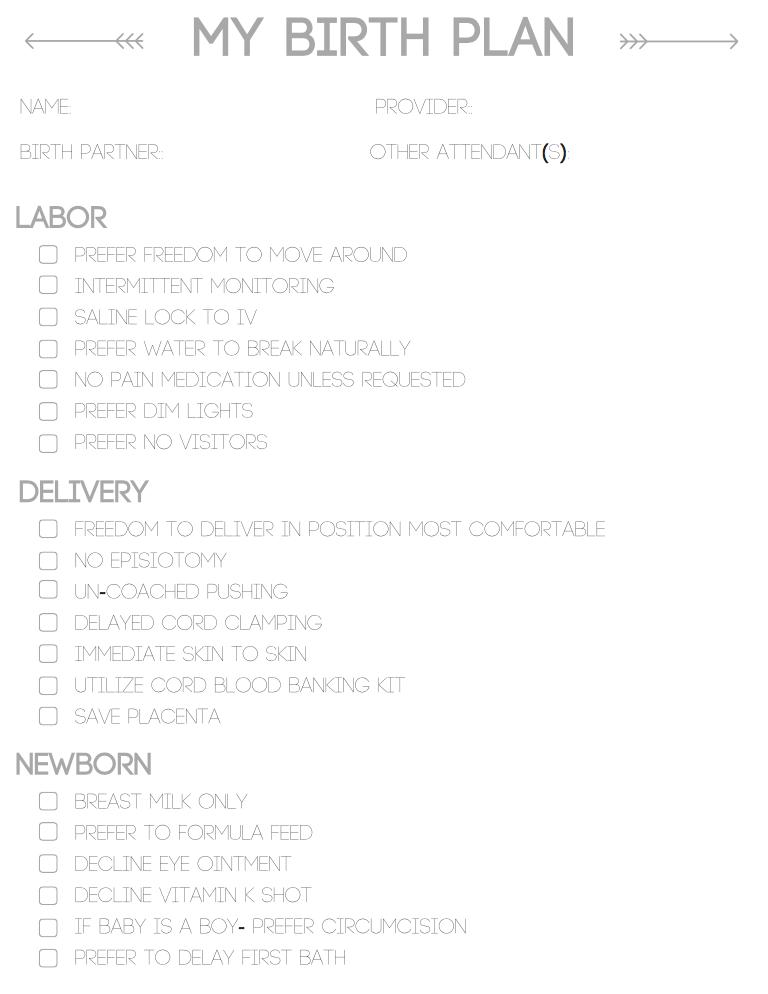 birth plan printable