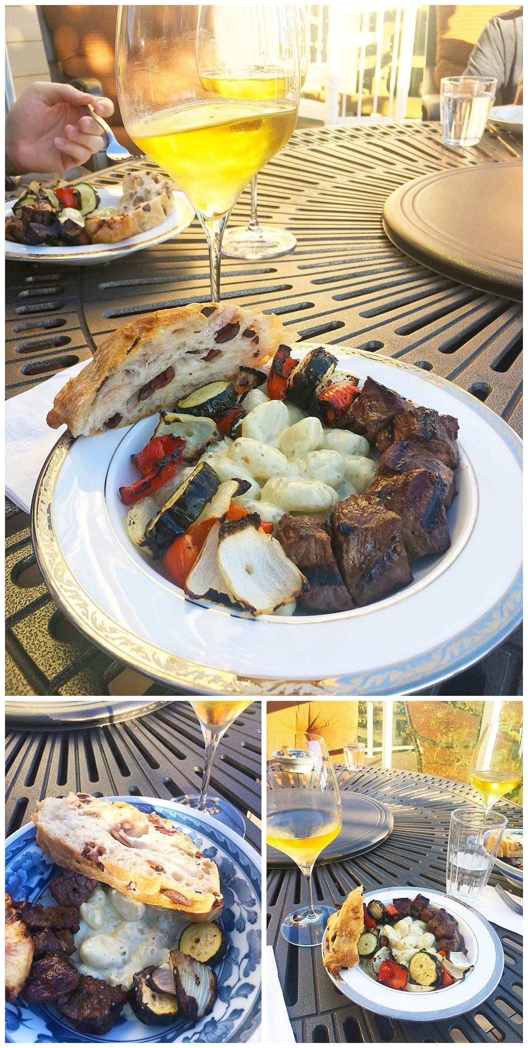 grilled vegetable and steak kabobs with alfredo gnocchi