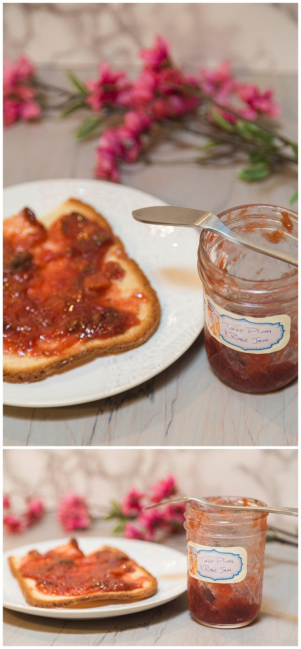 Tart Plum and Rose Jam Low Sugar Jam