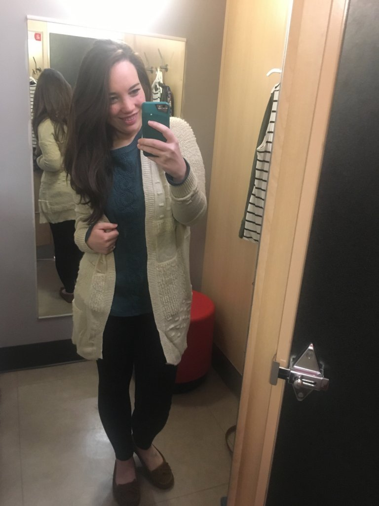 target fall outfits, cozy target cardigan, soft shirt with leggings