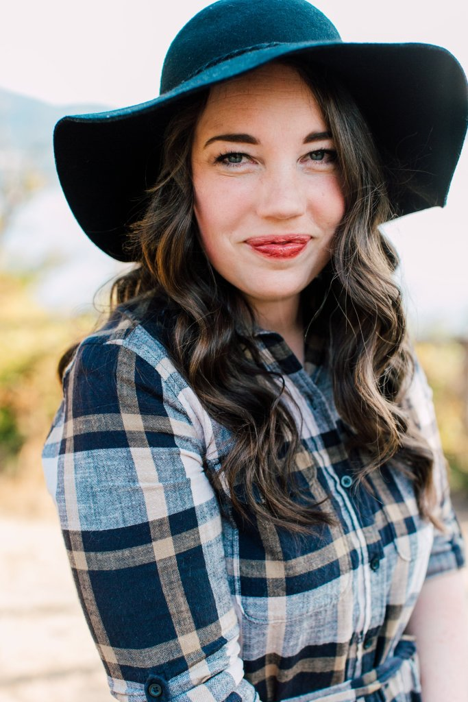 fall outfit ideas, fall outfit inspiration, fall dress, felt hat, dress with tights, plaid dress, fashion blogger