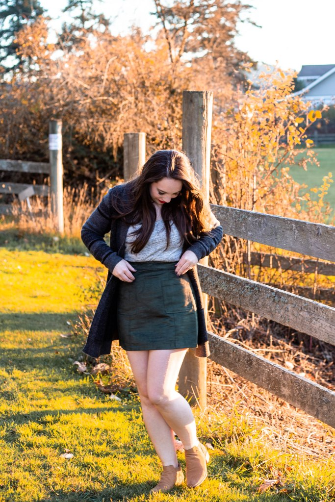 fall date night outfit, under $100, old navy, style, fall outfits, winter outfit, cardigan outfits, what to wear with skirts, Pacific Northwest, Seattle style