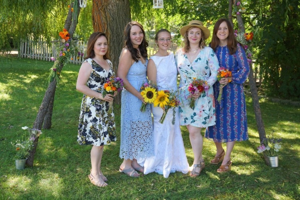 Mismatched bridal party bridesmaids dresses summer