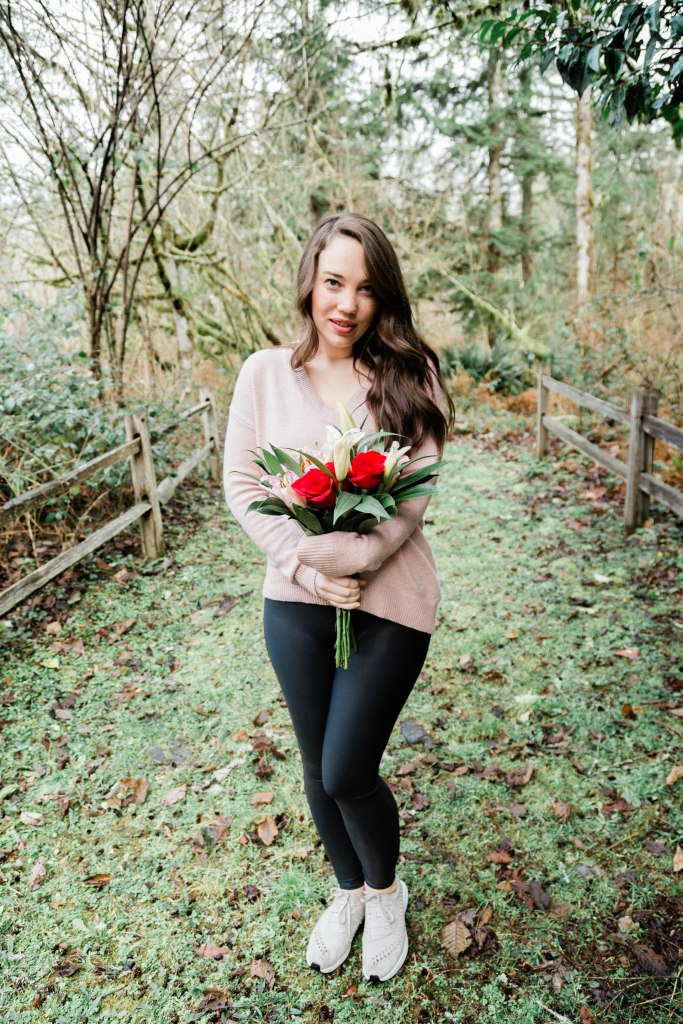Galentine's Day outfit, women's outfit for holiday with flowers