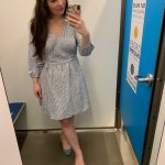 striped spring dress, wrap dress, old navy try on session
