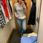 j crew factory try on haul, gray shirt, preppy outfit, spring outfit ideas