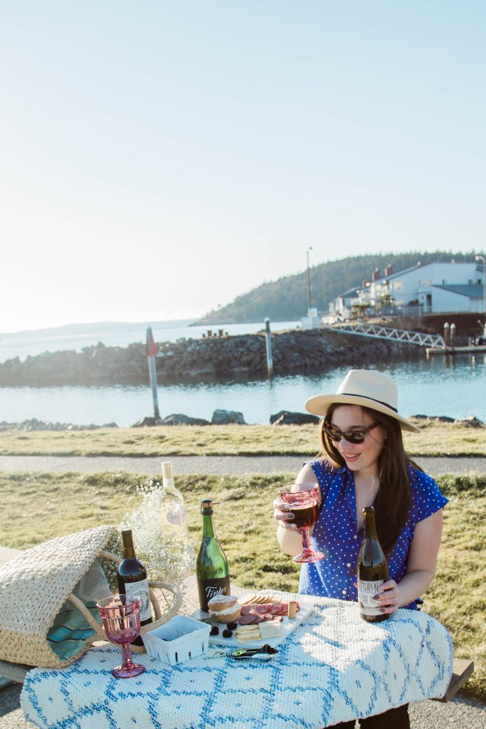 date night picnic, marina, beach, pacific. northwest, wine, boats