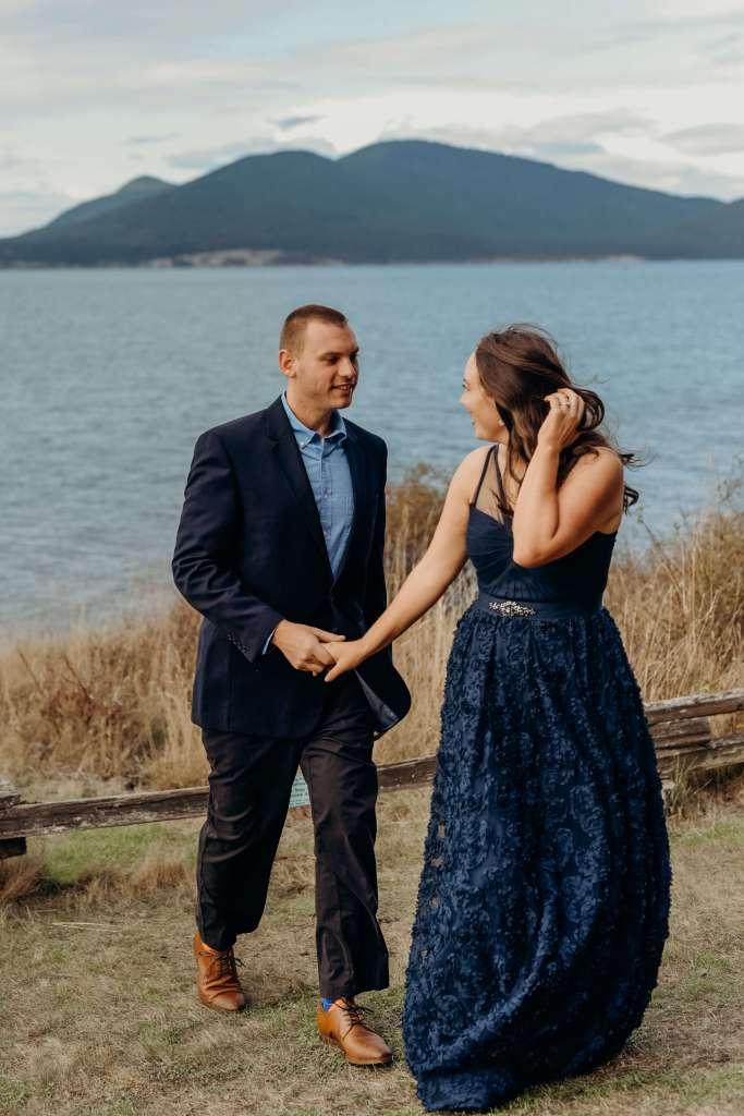 couple engagement photo ideas, blue dress, blue suit