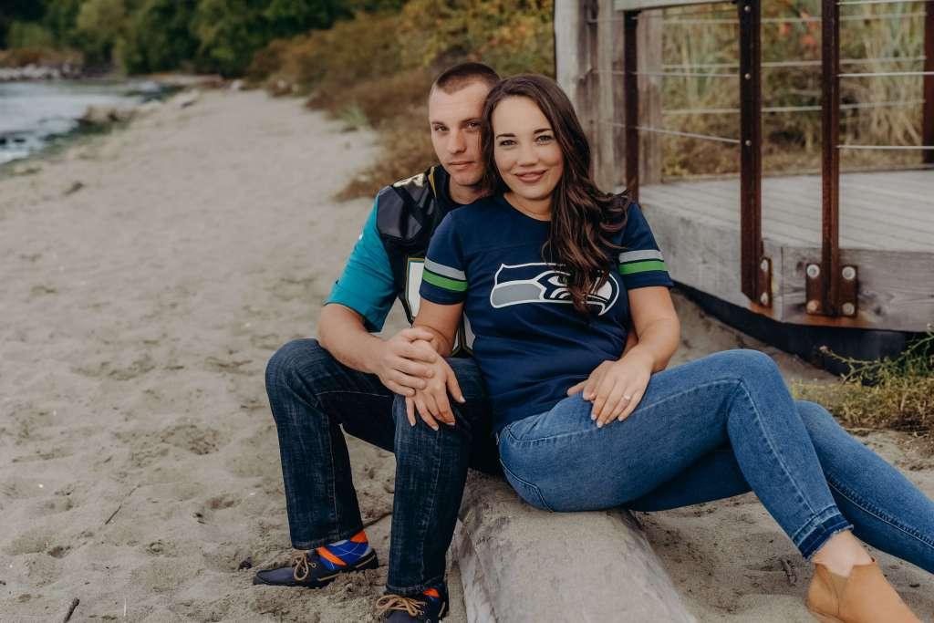 nfl Seahawks Jaguars casual engagement photography ideas
