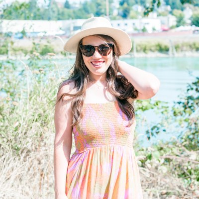 fall transitional outfit idea, summer dress with Panama hat and Moto jacket