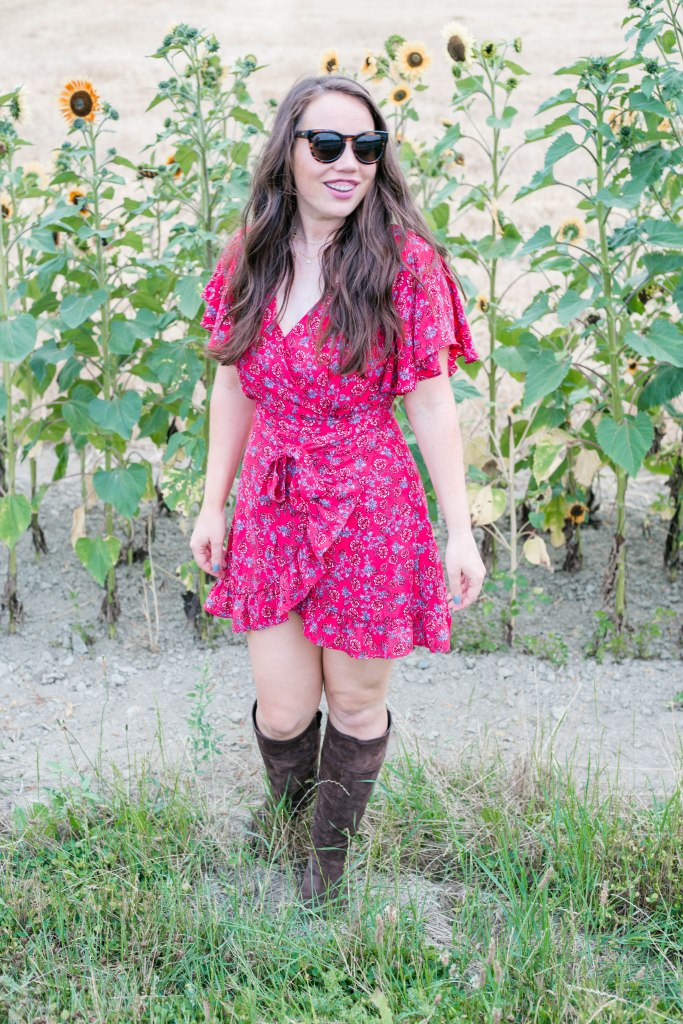 fall transition outfit ideas, red dress, boots