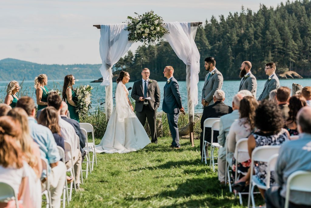 outdoor Anacortes Washington wedding ceremony