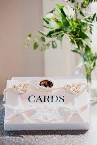 beach themed card box at wedding, nautical knots, starfish, lace, diy card box