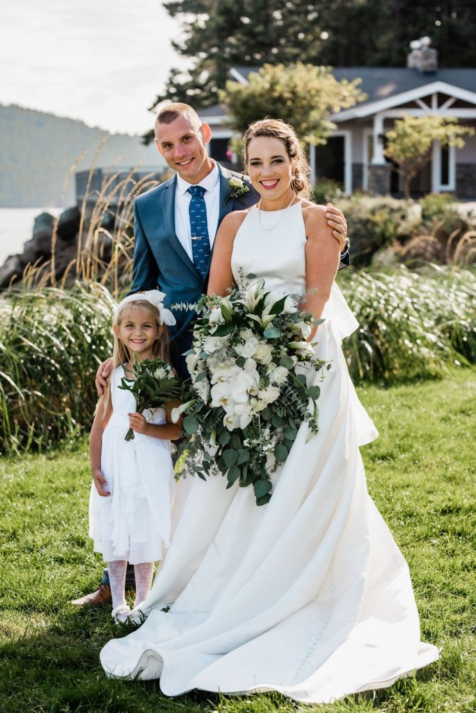 Pacific Northwest wedding portraits, bride and groom with flower girl, beach outdoor wedding