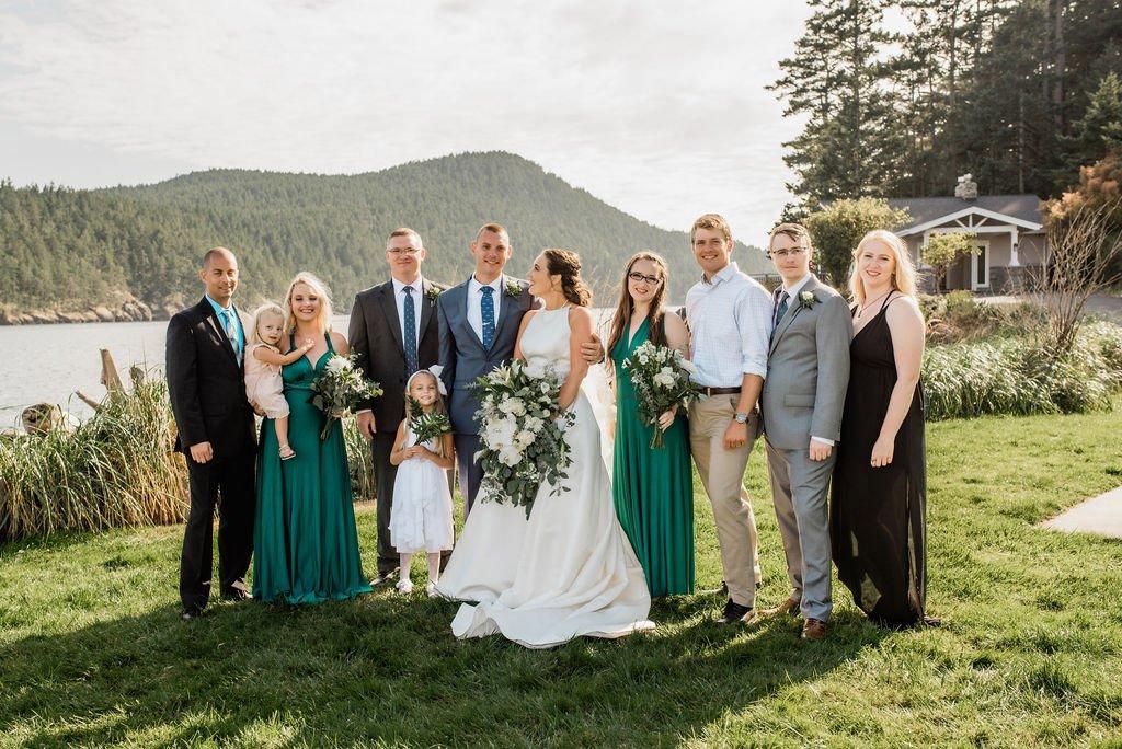 bride and groom with siblings, everyone looking at camera, bride looking at groom, must have wedding shot list