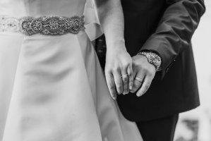 heirloom engagement ring, custom wedding band, wedding details, beaded classic wedding dress, tag herer groom gray suit